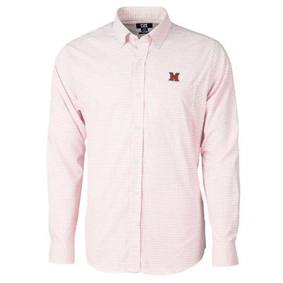 Miami Cutter and Buck Men's Versatech Tattersall Dress Shirt