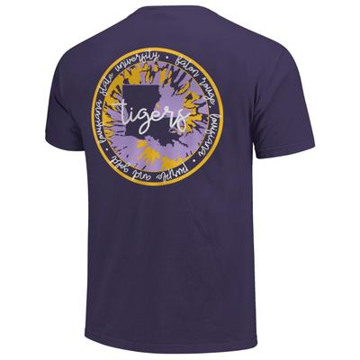 LSU Circle Pattern with State Script Short Sleeve Comfort Colors Tee