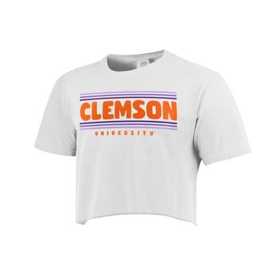 Clemson Simple Stripe Cropped Short Sleeve Comfort Colors Tee