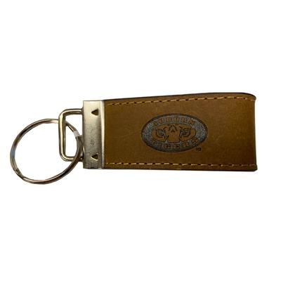 Auburn Zeppro All Leather Embossed Key Fob