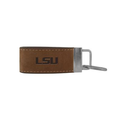 LSU Zeppro All Leather Embossed Key Fob