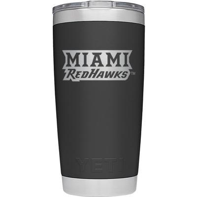 Miami Yeti 20 oz Black Secondary Logo Rambler