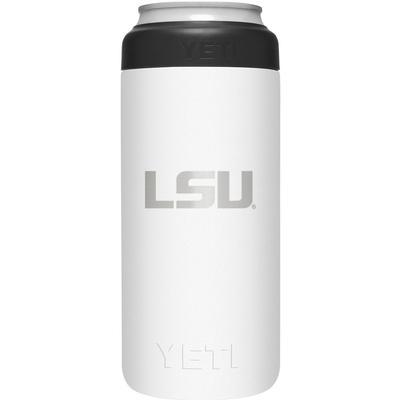 LSU Yeti White Primary Logo Slim Colster