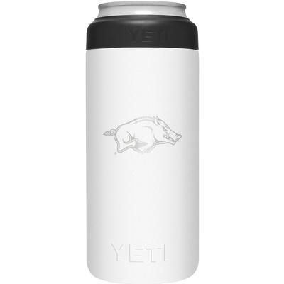 Arkansas Yeti White Primary Logo Slim Colster