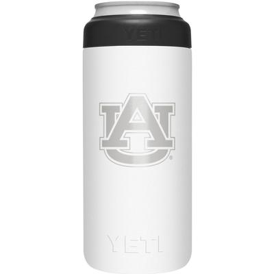 Auburn Yeti White Primary Logo Slim Colster