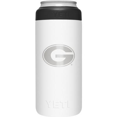 Georgia Yeti White Primary Logo Slim Colster