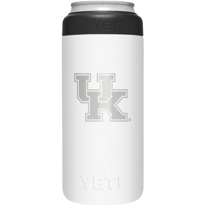 Kentucky Yeti White Primary Logo Slim Colster
