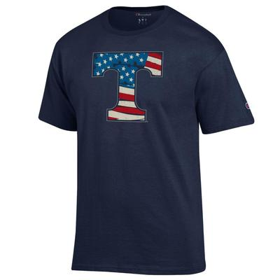 Tennessee Champion Giant Logo Flag Fill Americana Tee