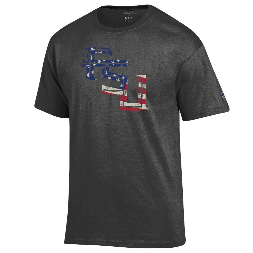Florida State Champion Giant Logo Flag Fill Americana Tee