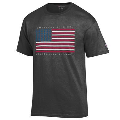 West Virginia Champion Mini Logo American Flag Tee