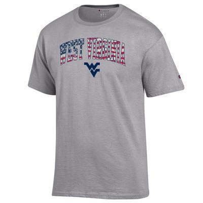 West Virginia Champion Arch Flag Fill Americana Tee