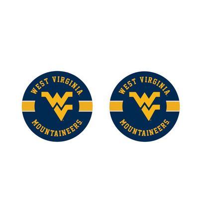 West Virginia 2pk Striped Car Coaster