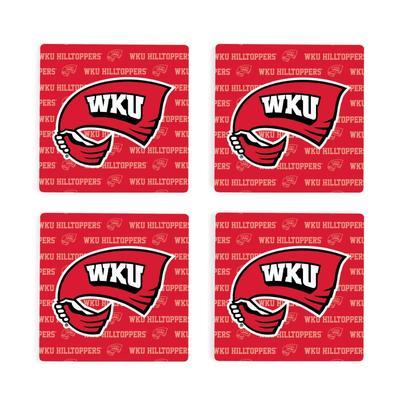 Western Kentucky 4pk Primary Repeat Logo Coaster