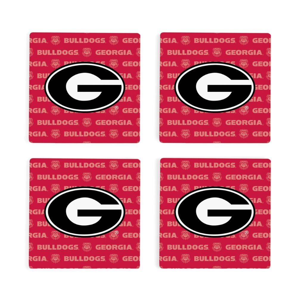 Georgia 4pk Primary Repeat Logo Coaster