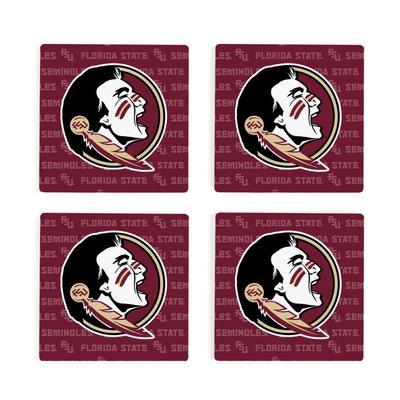 Florida State 4pk Primary Repeat Logo Coaster