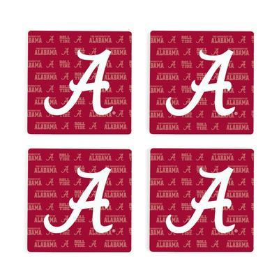 Alabama 4pk Primary Repeat Logo Coaster
