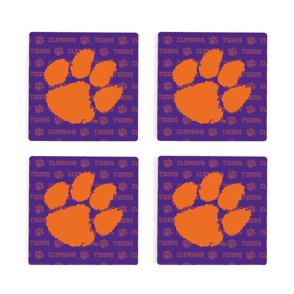 Clemson 4pk Primary Repeat Logo Coaster