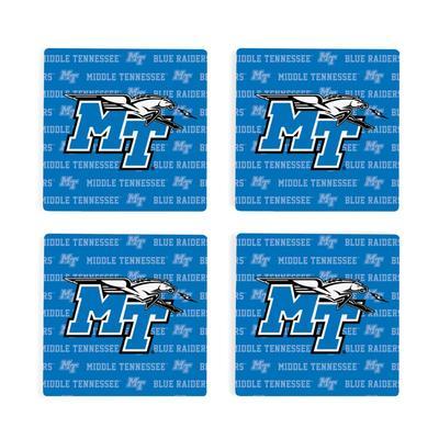 MTSU 4pk Primary Repeat Logo Coaster