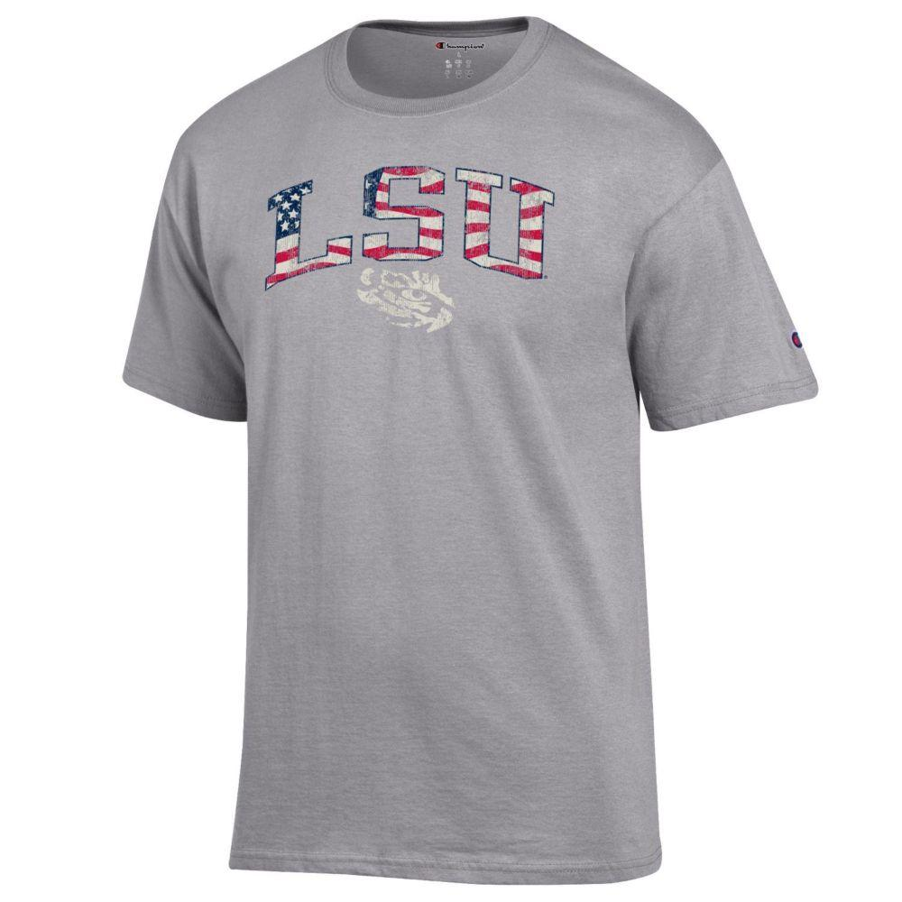Lsu Champion Arch Flag Fill Americana Tee