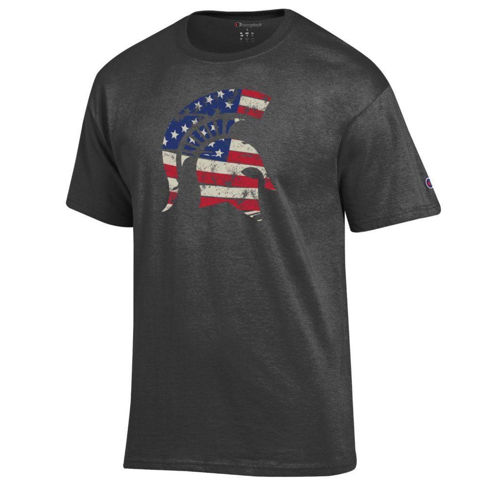 Michigan State Champion Giant Logo Flag Fill Americana Tee