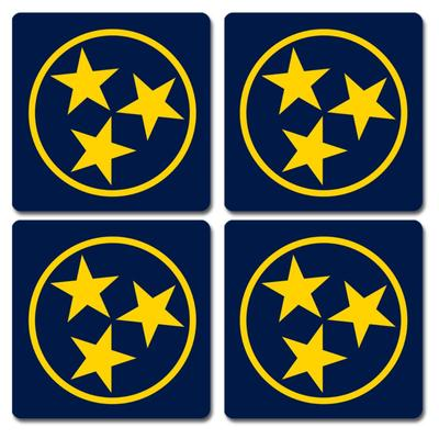 Blue and Gold Legacy Tri-Star Coaster 4-Pack