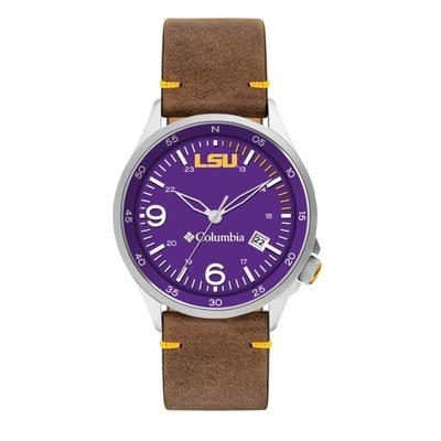 LSU Columbia Canyon Ridge Leather Watch