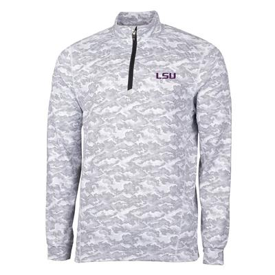LSU Cutter & Buck Men's Traverse Camo Half Zip Pullover