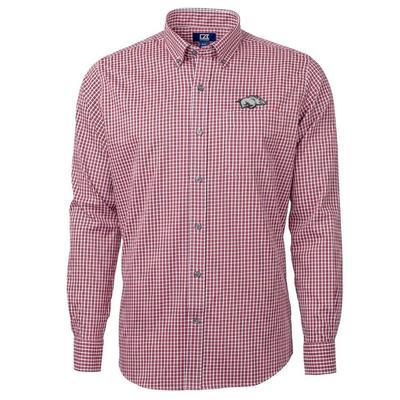 Arkansas Cutter & Buck Men's Versatech Multi Check Woven Button Up