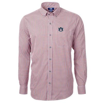 Auburn Cutter & Buck Men's Versatech Multi Check Woven Button Up