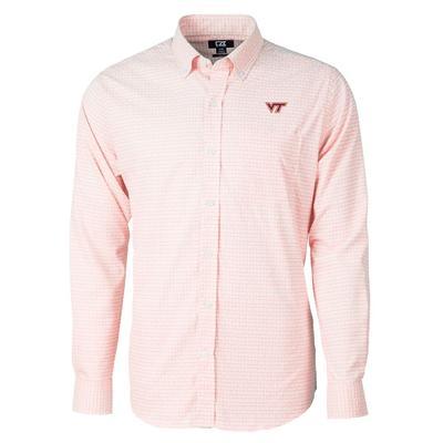 Virginia Tech Cutter & Buck Men's Versatech Tattersall Button Up
