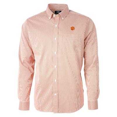 Clemson Cutter & Buck Men's Versatech Pinstripe Button Up