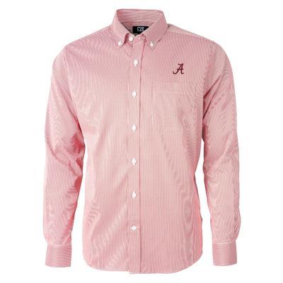 Alabama Cutter & Buck Men's Versatech Pinstripe Button Up