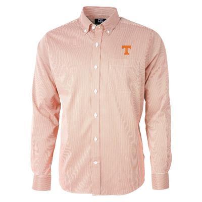 Tennessee Cutter & Buck Men's Versatech Pinstripe Button Up