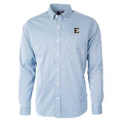 ETSU Cutter & Buck Men's Versatech Pinstripe Button Up
