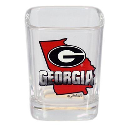 Georgia 2 oz State Map and Mascot Shot Glass
