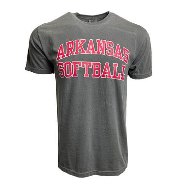 Arkansas Script A Softball Comfort Colors Short Sleeve Tee