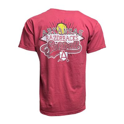 Arkansas Softball Arch Comfort Colors Short Sleeve Tee