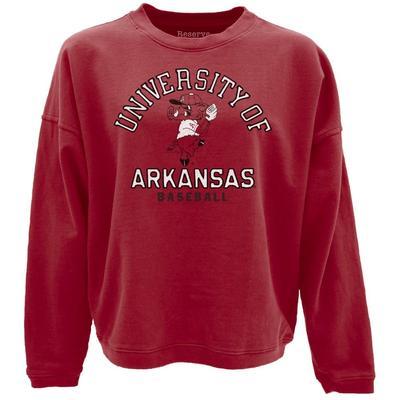 Arkansas Reserve Pitching Ribby Baseball French Terry Crew Sweatshirt