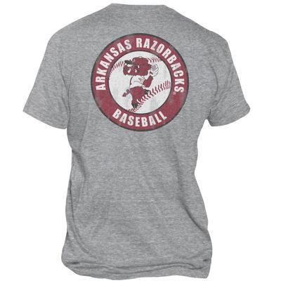 Arkansas Retro Brand Men's Pitching Ribby Circle Streaky Tee