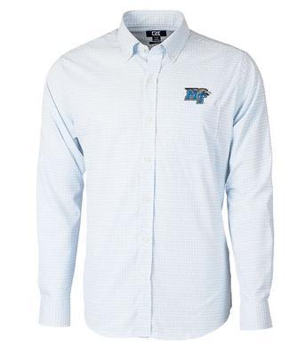 MTSU Cutter and Buck Men's Versatech Tattersall Dress Shirt