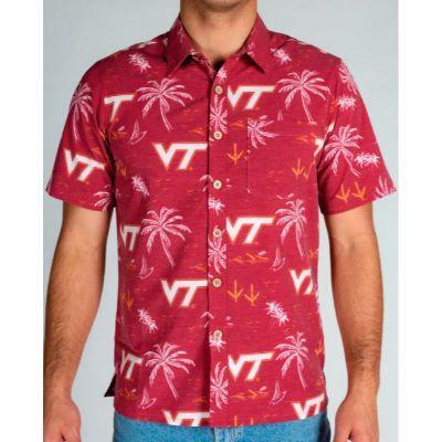 Virginia Tech Tellum And Chop Palm Print Hawaiian Shirt
