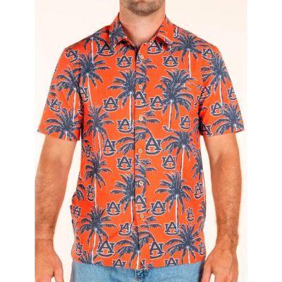 Auburn Tellum And Chop Palm Print Hawaiian Shirt