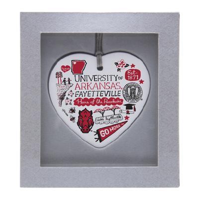 Arkansas Julia Gash Ceramic Heart Ornament