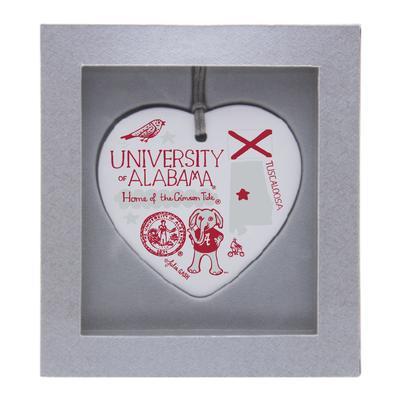 Alabama Julia Gash Ceramic Heart Ornament