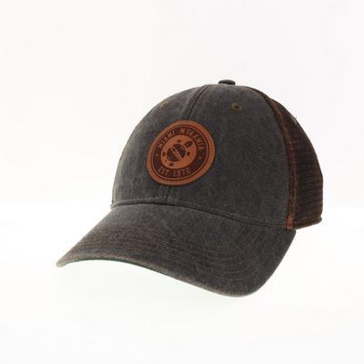 Miami Legacy Myaamia Heritage Collection Turtle Logo Leather Circle Trucker Hat BLACK/BRONZE_MESH