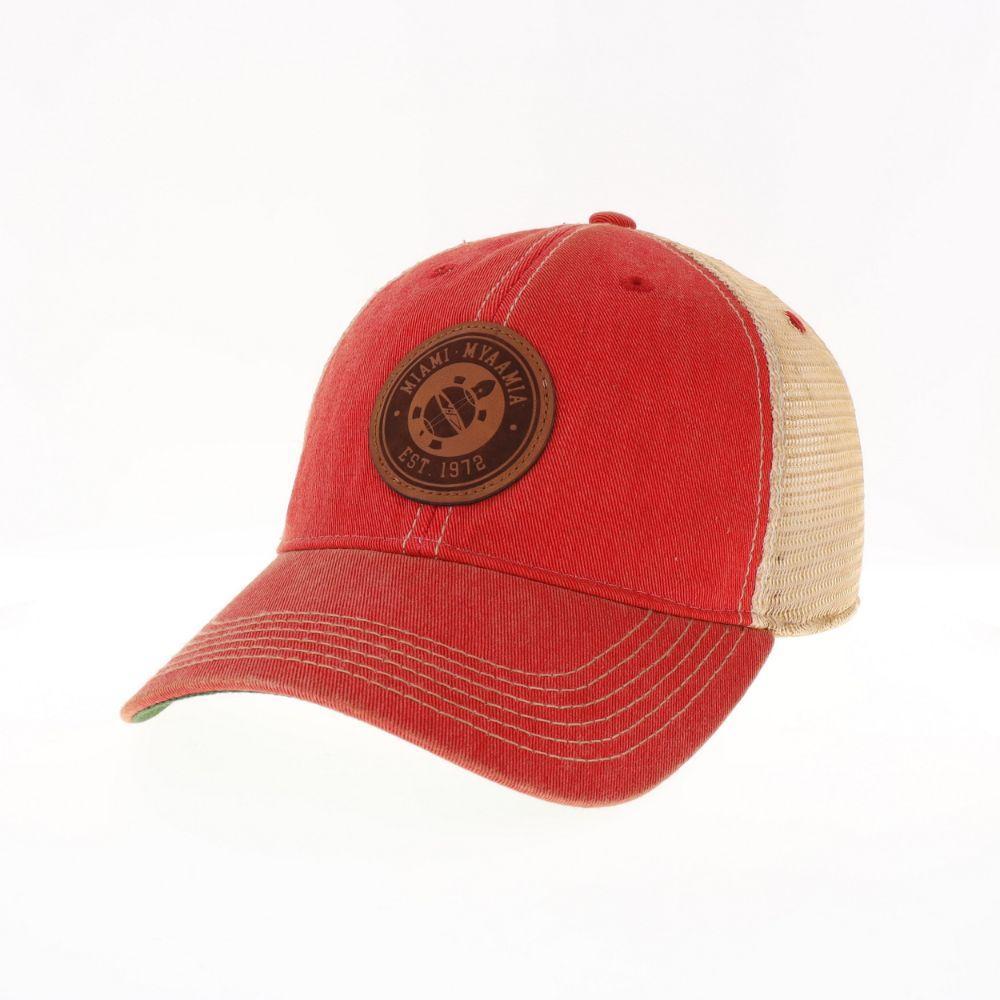 Miami Legacy Myaamia Heritage Collection Turtle Logo Leather Circle Trucker Hat