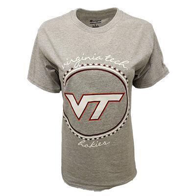 Virginia Tech Champion Gingham Script T-Shirt