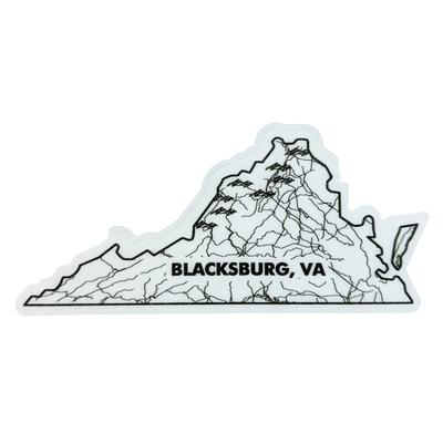 Blacksburg Seasons Designs State Map Rugged Sticker
