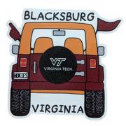 Virginia Tech Seasons Designs Cartoon Jeep Rugged Sticker