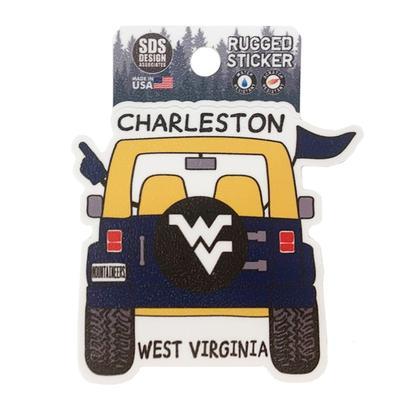 West Virginia Seasons Design Cartoon Jeep 3.25
